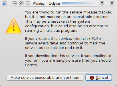 Dialog security popup example for launchers