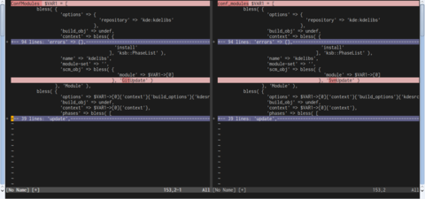 Screenshot of a vim window displaying only differences between two different buffers