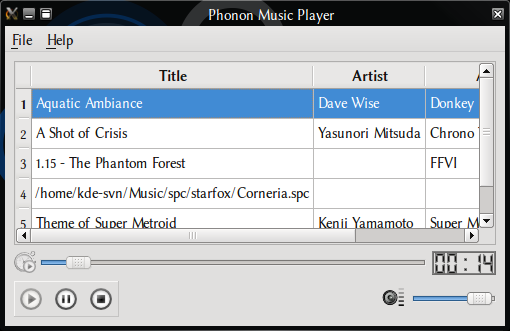 Screenshot of music player playing SPC files